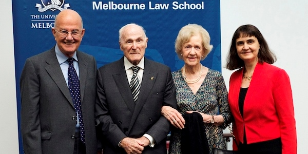 The Right Hon the Lord Judge with Nathan and Pamela Jacobson and Dean of MLS Professor Carolyn Evans