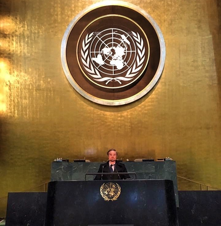 Scott Colvin at the UN building in New York