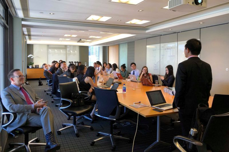 Dr Dang hosts students in an international arbitration moot at Skadden Arps' Hong Kong office. Image: supplied.