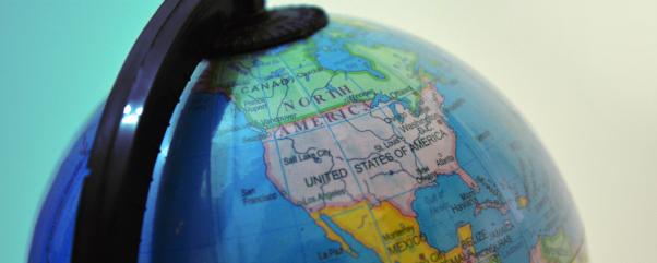Close up of world globe