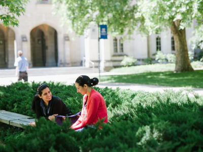 Women talking in the South Lawn at Parkville