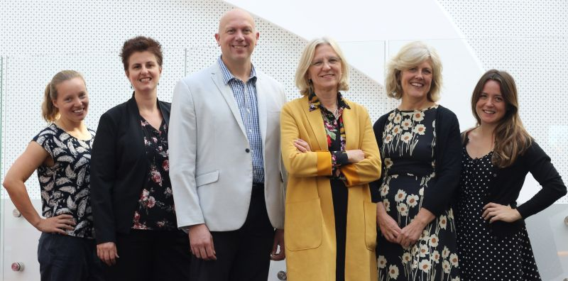 The HeLEX@Melbourne team, from left to right: Dr Harriet Teare, Dr Megan Prictor, Associate Professor Mark Taylor, Professor Jane Kaye, Dr Carolyn Johnston, Dr Jessica Bell. Image credit: Paul Pasztaleneic.