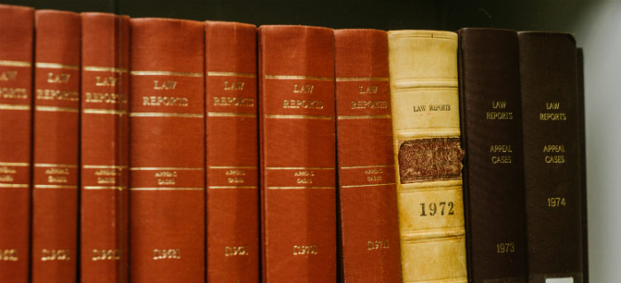 Close up of bound law reports on shelf