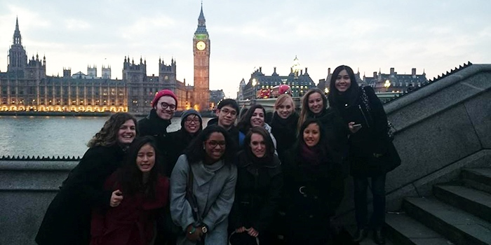 Charlotte Grover Johnson with friends in front of the Big Ben