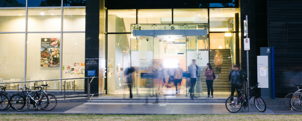 Melbourne Law school entrance at night