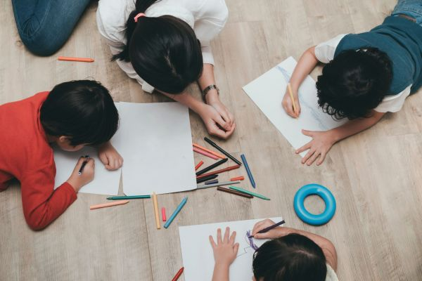 Children drawing.